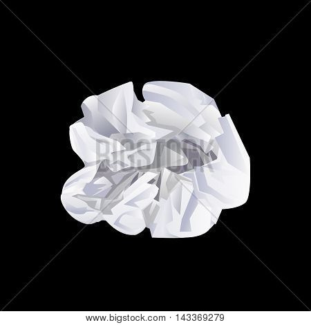Crumple paper on black background Vector illustration.