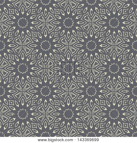 Seamless hand drawn mandala pattern. Vintage elements in oriental style with grunge effect. Can be used as fabric paper and page fill. Islam arabic indian turkishottoman asian motifs. Vector.