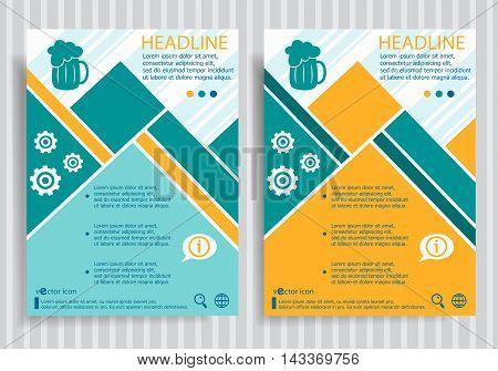 Beer Mug Web Symbol On Vector Brochure Flyer Design Layout Template