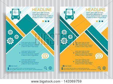 Bus Web Symbol On Vector Brochure Flyer Design Layout Template