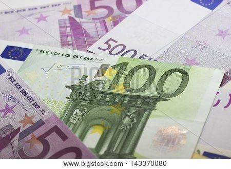 Euros - 500 and 100 euros  - finance concept
