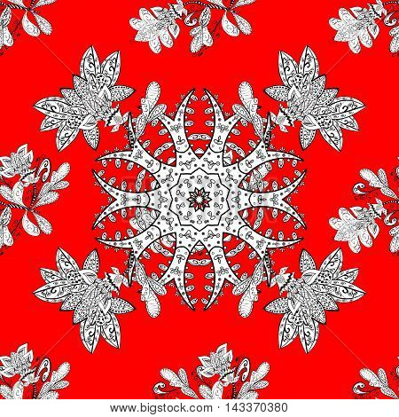 Seamless floral doodles structure. White vector ornament on red background