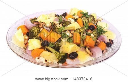 vegetable salad with potatoes olives isolated on the white background