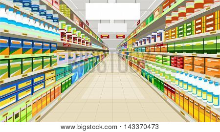 painted commercial premises in the store with racks with goods