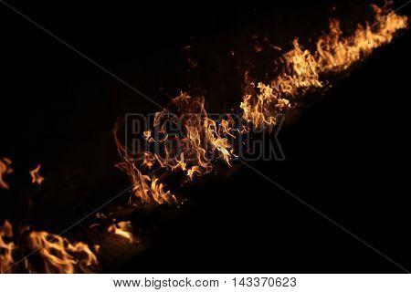 Fire Burning On Black