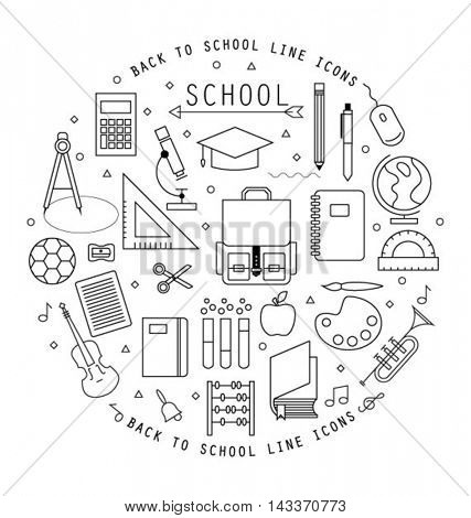 BACK TO SCHOOL FLAT LINE ICONS COLLECTION.