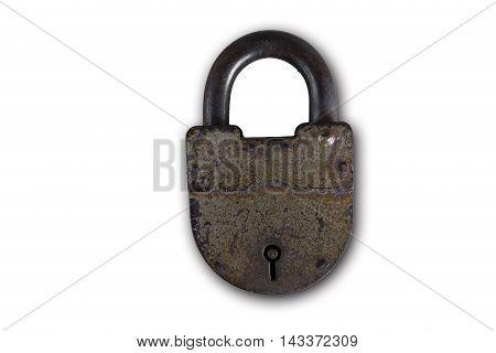 Padlock, old metal padlock on white background, security, lock, metal, door lock, isolated padlock, rural padlock