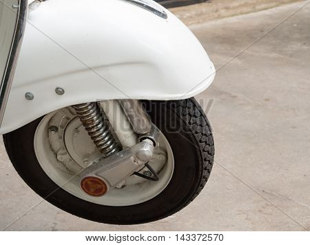 close - up  Front - wheel  motorcycle .