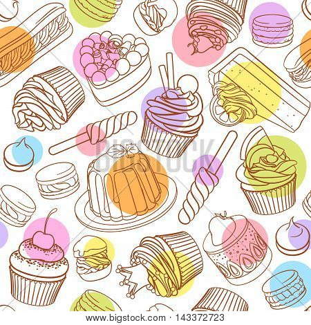 Assorted pastel outlined colorful desserts, pastries, sweets, candies, cupcakes. Seamless vector pattern with polka dots on white background.