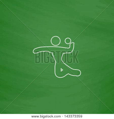 Volleyball Outline vector icon. Imitation draw with white chalk on green chalkboard. Flat Pictogram and School board background. Illustration symbol