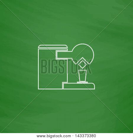 Coffee Maker Outline vector icon. Imitation draw with white chalk on green chalkboard. Flat Pictogram and School board background. Illustration symbol