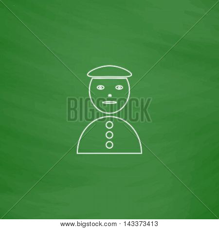 clown jester Outline vector icon. Imitation draw with white chalk on green chalkboard. Flat Pictogram and School board background. Illustration symbol
