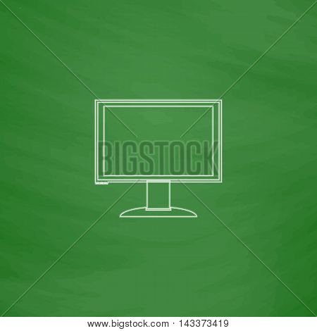 PC monitor Outline vector icon. Imitation draw with white chalk on green chalkboard. Flat Pictogram and School board background. Illustration symbol