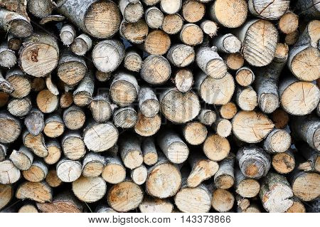 Stack of wood in country side, butts, texture