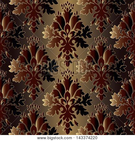 Floral dark stylish damask baroque floral vector seamless pattern in Eastern style with oriental flowers and ornament. Luxury illustration and royal 3d decor elements with shadow and highlights. Endless elegant  texture.