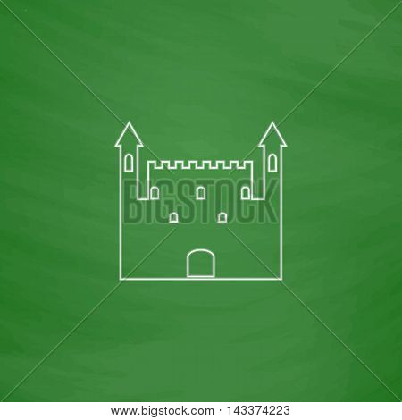 Castle Outline vector icon. Imitation draw with white chalk on green chalkboard. Flat Pictogram and School board background. Illustration symbol