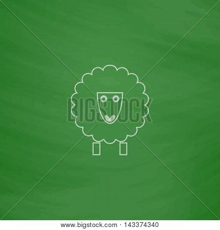 Sheep Outline vector icon. Imitation draw with white chalk on green chalkboard. Flat Pictogram and School board background. Illustration symbol