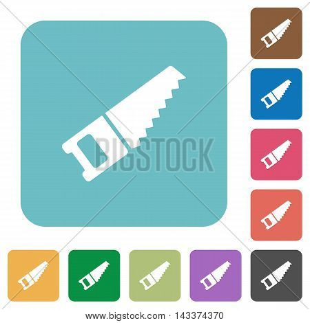 Flat hand saw icons on rounded square color backgrounds.