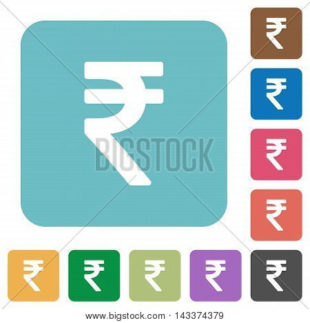 Flat Indian Rupee sign icons on rounded square color backgrounds.