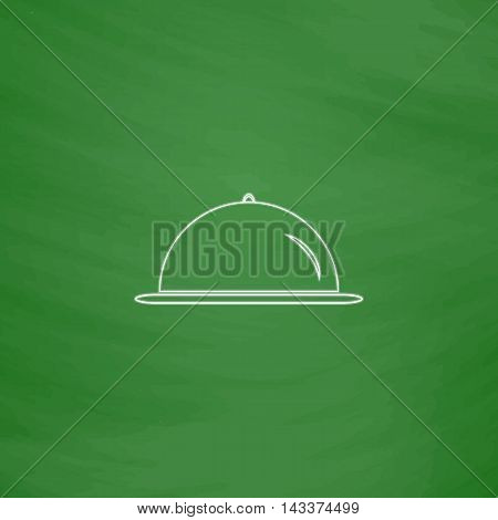 cloche Outline vector icon. Imitation draw with white chalk on green chalkboard. Flat Pictogram and School board background. Illustration symbol