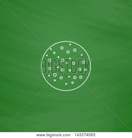 full moon Outline vector icon. Imitation draw with white chalk on green chalkboard. Flat Pictogram and School board background. Illustration symbol