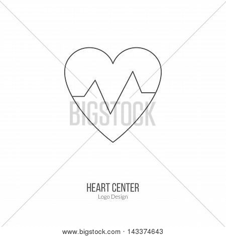 Heart beats graph cardiology sign. Single logo in modern thin line style isolated on white background. Outline medical symbol. Simple mono linear pictogram. Stroke vector logotype template.