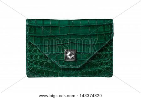 Handbag from alligator leather hide in green colour on white background no brand