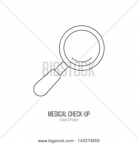 Magnifying glass. Single logo in modern thin line style isolated on white background. Outline medical symbol. Simple mono linear pictogram. Stroke vector logotype template.