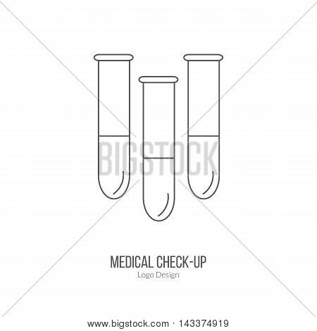 Three test tubes laboratory glassware. Single logo in modern thin line style isolated on white background. Outline medical symbol. Simple mono linear pictogram. Stroke vector logotype template.