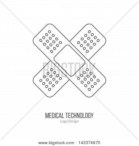 First aid bandage plaster patch. Single logo in modern thin line style isolated on white background. Outline medical symbol. Simple mono linear pictogram. Stroke vector logotype template.