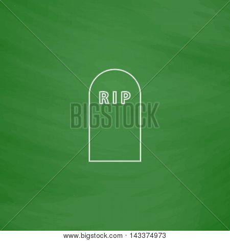 Grave Outline vector icon. Imitation draw with white chalk on green chalkboard. Flat Pictogram and School board background. Illustration symbol