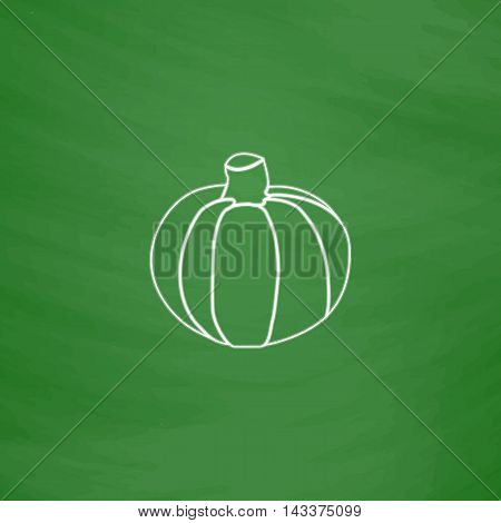 Pumpkin Outline vector icon. Imitation draw with white chalk on green chalkboard. Flat Pictogram and School board background. Illustration symbol