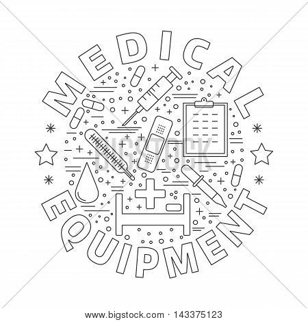 Round composition with medical symbols objects. Medical checkup diagnostic and research icons arranged in round shape. Healthcare graphic design elements isolated on white background. Vector template