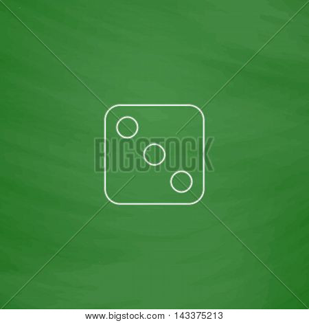 dice 3 Outline vector icon. Imitation draw with white chalk on green chalkboard. Flat Pictogram and School board background. Illustration symbol