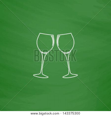 clink glasses Outline vector icon. Imitation draw with white chalk on green chalkboard. Flat Pictogram and School board background. Illustration symbol