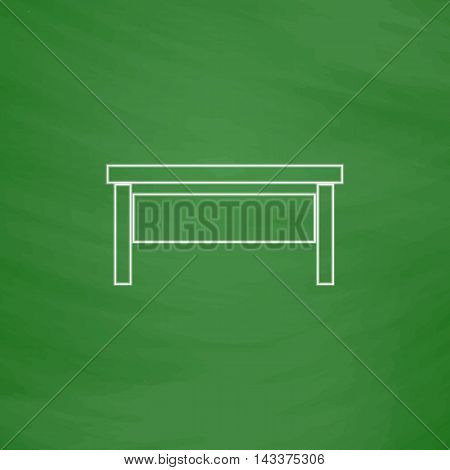 table Outline vector icon. Imitation draw with white chalk on green chalkboard. Flat Pictogram and School board background. Illustration symbol