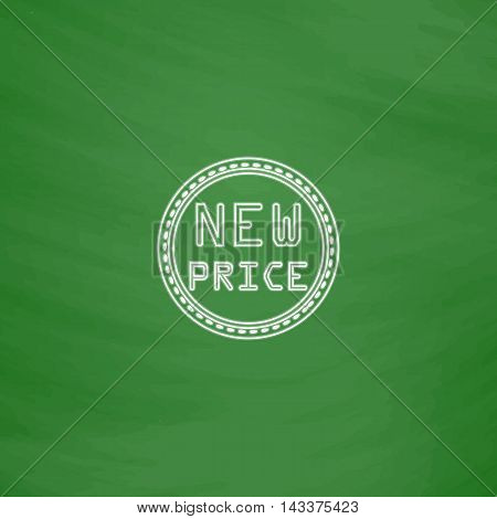 New Price Outline vector icon. Imitation draw with white chalk on green chalkboard. Flat Pictogram and School board background. Illustration symbol