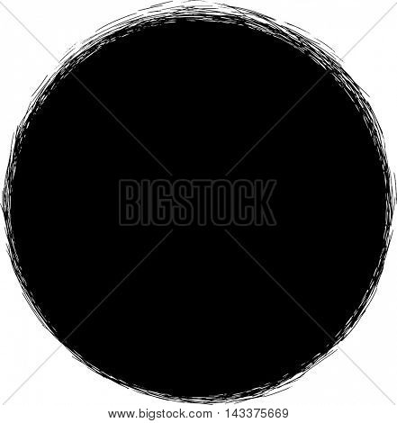 Black hand drawn circle with small scribble strokes outside border. Vector design element