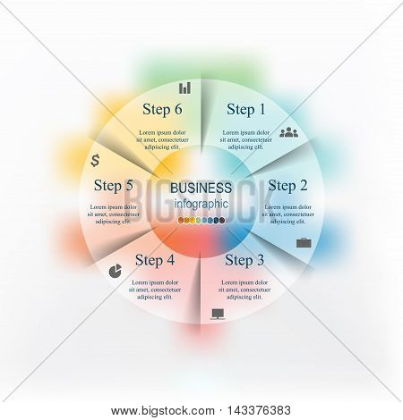 Template for cycle diagram graph presentation and round chart. Business concept with 6 options parts steps or processes. Blur vector background.