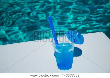 Old Coctail On The Pool Background
