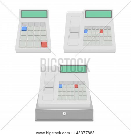 cash register set vector illustration isolated on a white background.