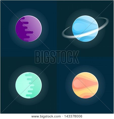 Planets colorful vector set on dark background. Vector illustration.