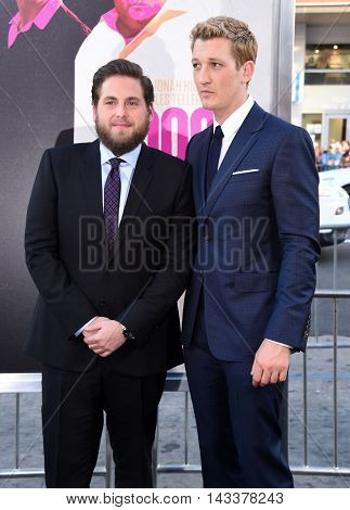 LOS ANGELES - AUG 15:  Jonah Hill and Miles Teller arrives to the