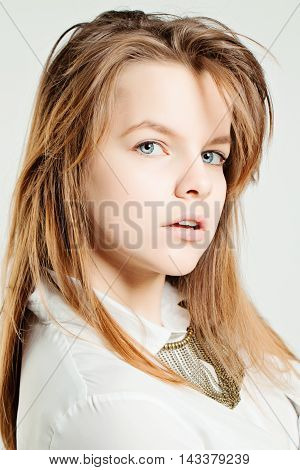 Young Face. Woman Fashion Model with Fair Hair