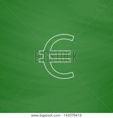 Euro Outline vector icon. Imitation draw with white chalk on green chalkboard. Flat Pictogram and School board background. Illustration symbol