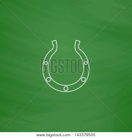 Luck Horseshoe Outline vector icon. Imitation draw with white chalk on green chalkboard. Flat Pictogram and School board background. Illustration symbol
