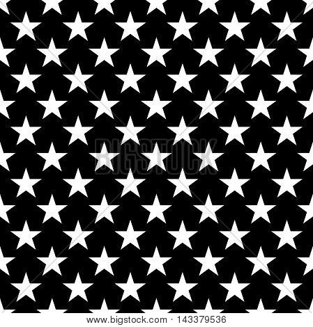 Stars seamless pattern. Black and white retro background elements. Abstract geometric shape texture. Fashion graphic style. Design template for wallpaper wrapping fabric textile Vector Illustration