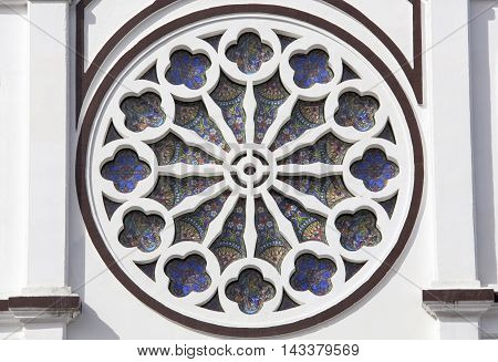 Close view of the cathedral window in Apia town the capital of Samoa.