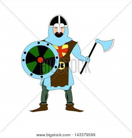 Medieval knight wearing a helmet, armor, shield and ax. Flat pattern. Vector illustration
