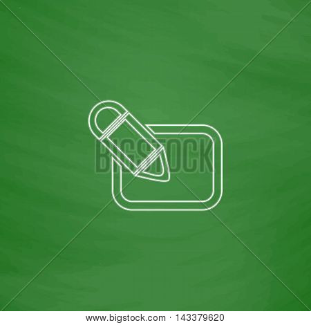 Registration Outline vector icon. Imitation draw with white chalk on green chalkboard. Flat Pictogram and School board background. Illustration symbol